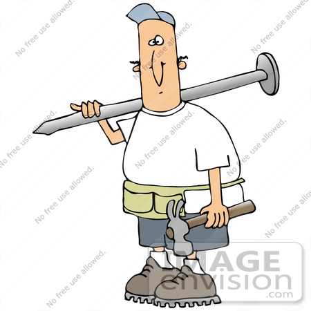 450x450 Cliprt Graphic Of Caucasian Construction Worker Guy Wearing