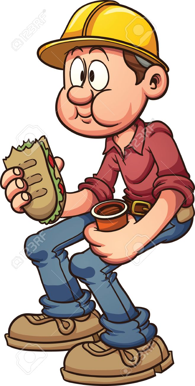 659x1300 Construction Worker Having A Lunch Break Vector Clip Art