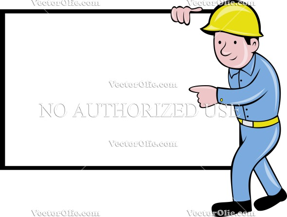 590x446 Safety Engineer Construction Worker Blank Board Royalty Free
