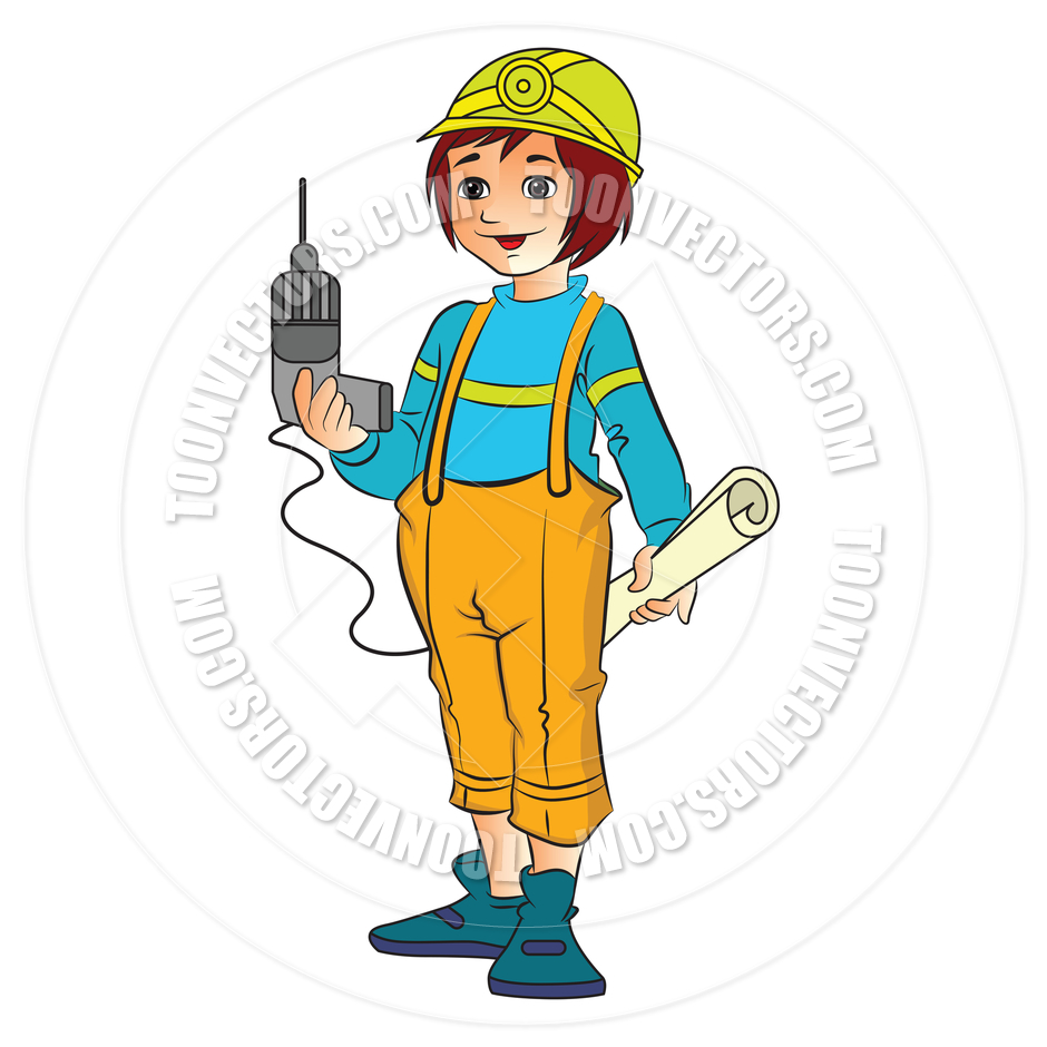 940x940 Cartoon Female Construction Worker By Morphart Toon Vectors Eps