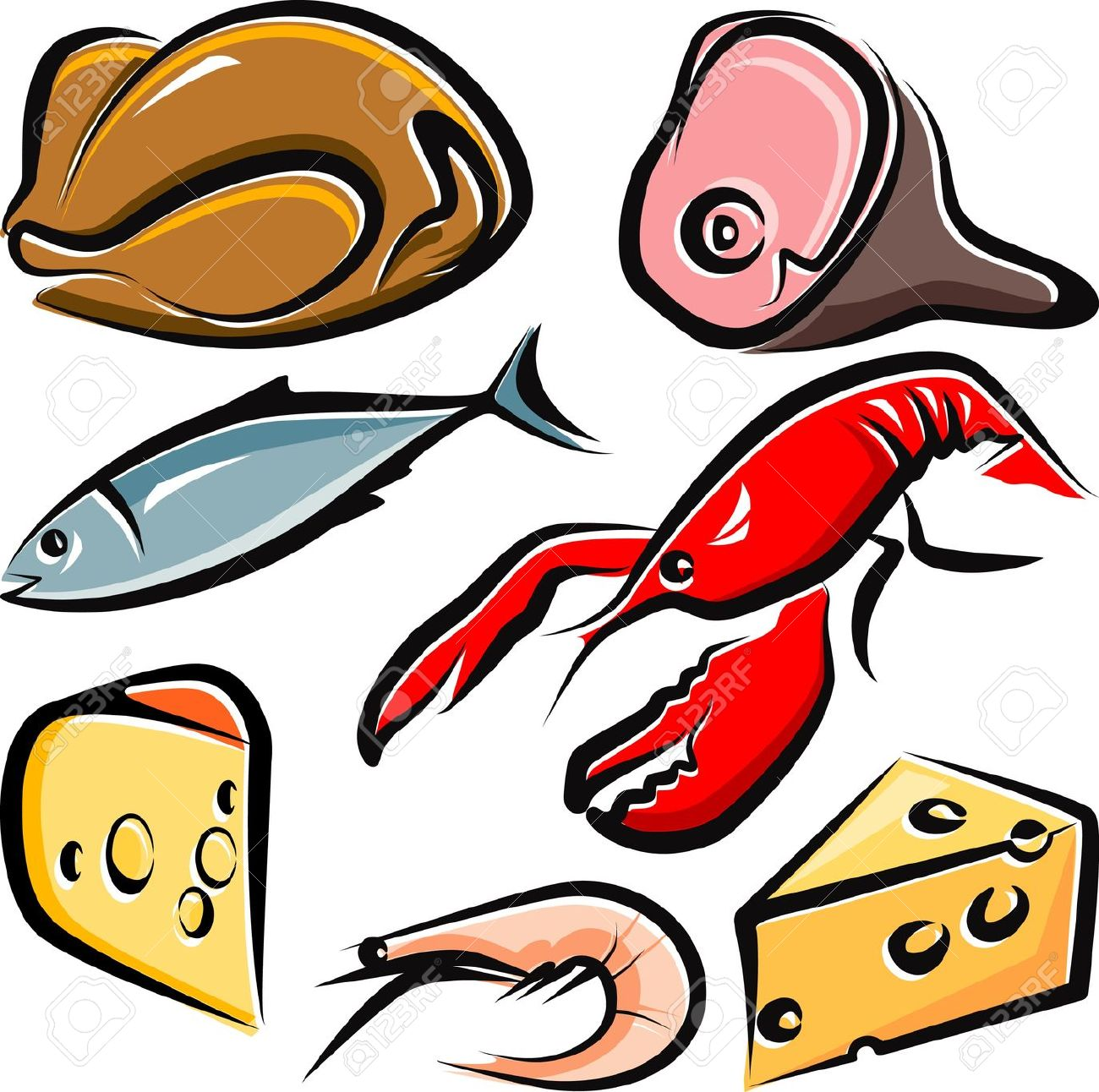 Chicken fish. Cooked clipart free download