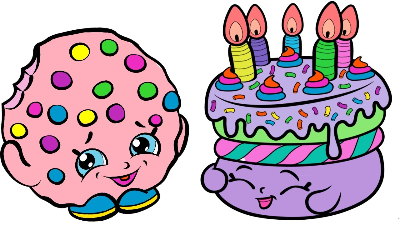 1280x720 Coloring Pages Shopkins Kooky Cookie And Birthday Cake Coloring