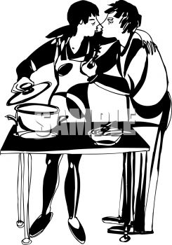 245x350 Black And White Man Kissing His Wife While She Cooks Dinner