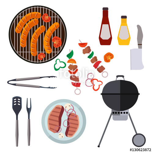 500x500 Barbecue Design Elements And Barbecue Grill Summer Food. Grilled
