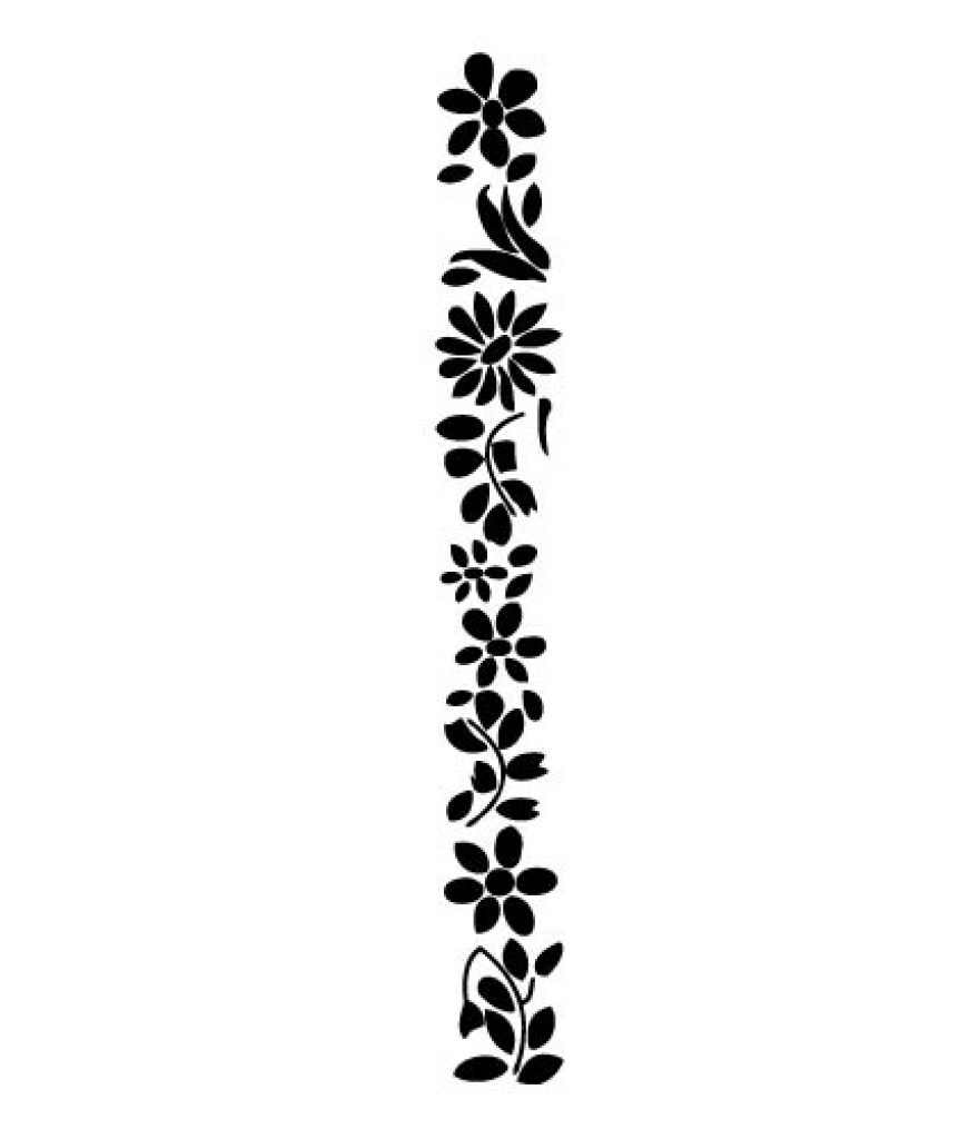 880x1024 Flower Border Clip Art Black And White Clipart Best
