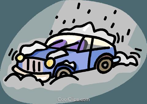 480x339 Car Stuck In A Snow Storm Royalty Free Vector Clip Art