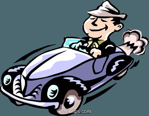 480x375 Man Driving Car Royalty Free Vector Clip Art Illustration
