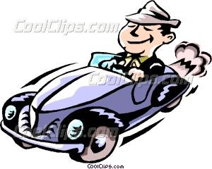 300x240 Man Driving Car Vector Clip Art