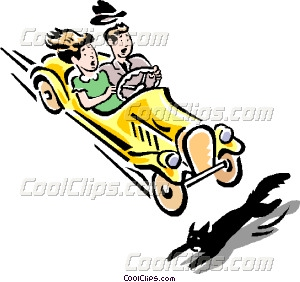 300x282 Car About To Hit Black Cat Vector Clip Art
