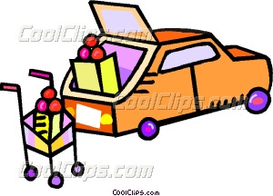 300x216 Car With Groceries Being Vector Clip Art