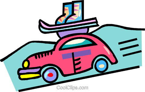 480x306 Car With Ski Equipment On The Roof Royalty Free Vector Clip Art