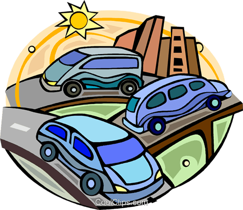 480x415 Cars On A Highway With Traffic Royalty Free Vector Clip Art