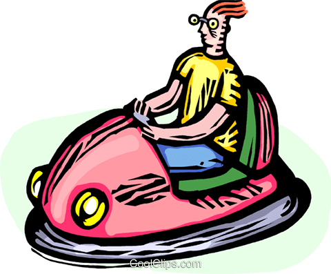 480x397 Man In A Bumper Car Royalty Free Vector Clip Art Illustration