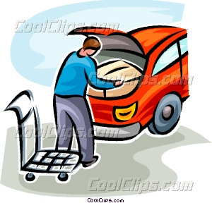300x288 Man Loading His Car With A Box Vector Clip Art