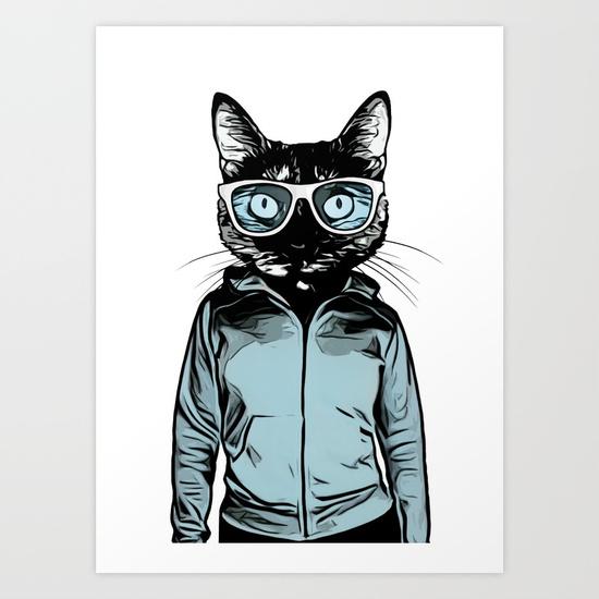 550x550 Cool Cat Art Print By Nicklasgustafsson Society6