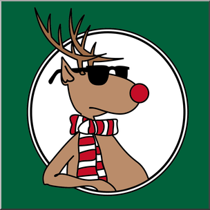 304x304 Clip Art Christmas Portraits Cool Reindeer With Green Frame I