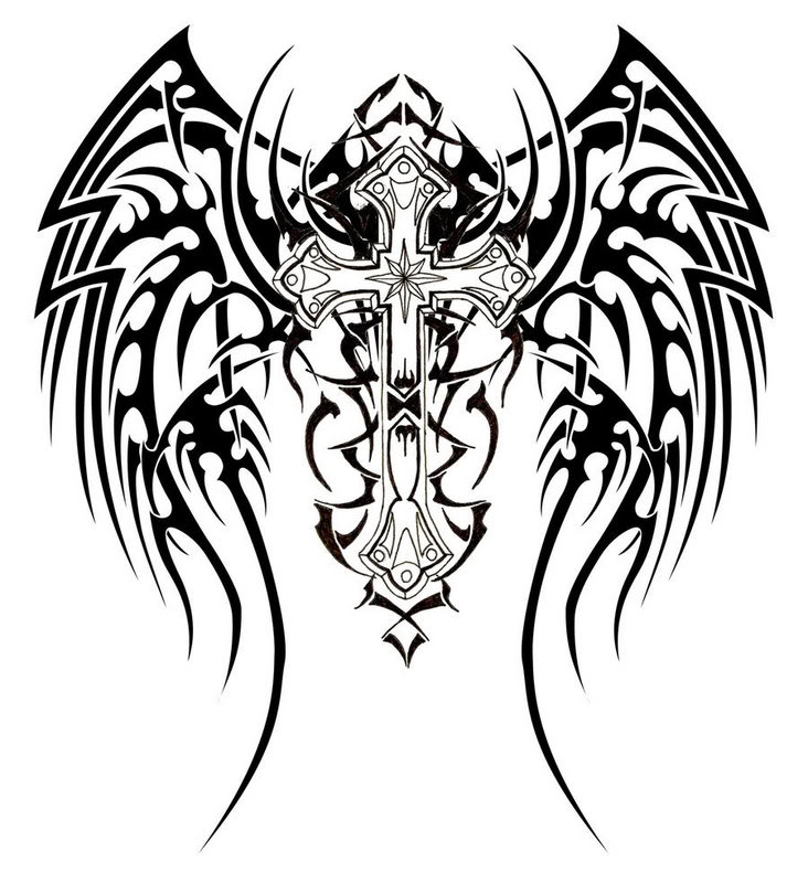 732x800 Graphics For Cool Cross With Wings Graphics