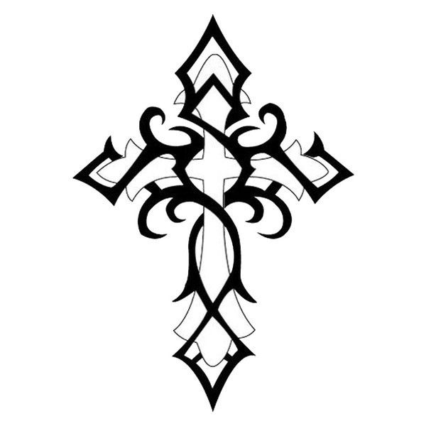 600x600 Tribal Cross Tattoo, Tatting And Tatoos