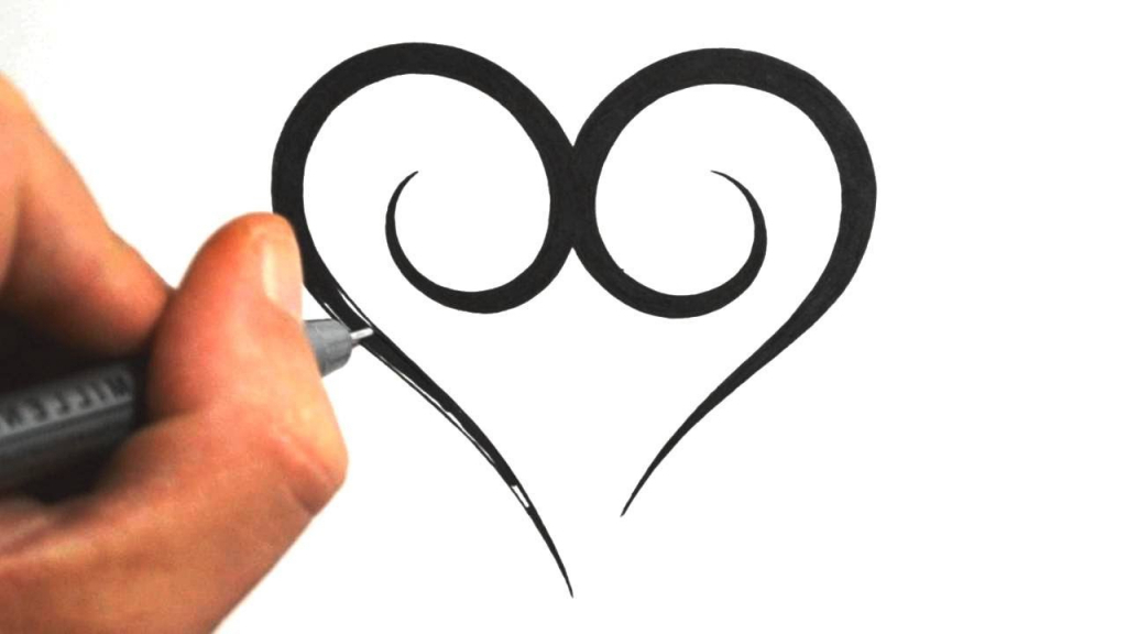 1024x576 Easy Cool Drawing Designs How To Draw A Simple Tribal Heart Tattoo