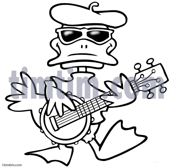 573x555 Free Drawing Of Banjo Duck Bw From The Category Music Amp Bands