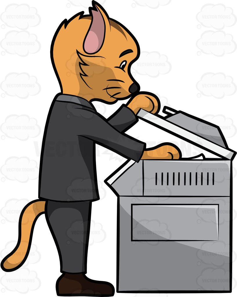 817x1024 A Business Cat Using A Photocopier Machine Dark Brown Shoes