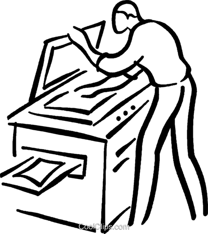 426x480 Man Making A Photocopy Royalty Free Vector Clip Art Illustration