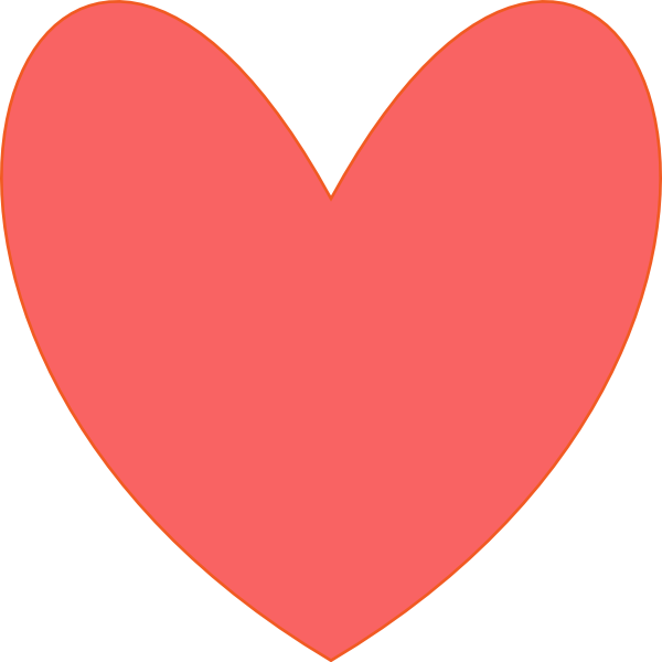 600x600 Coral Heart Clip Art