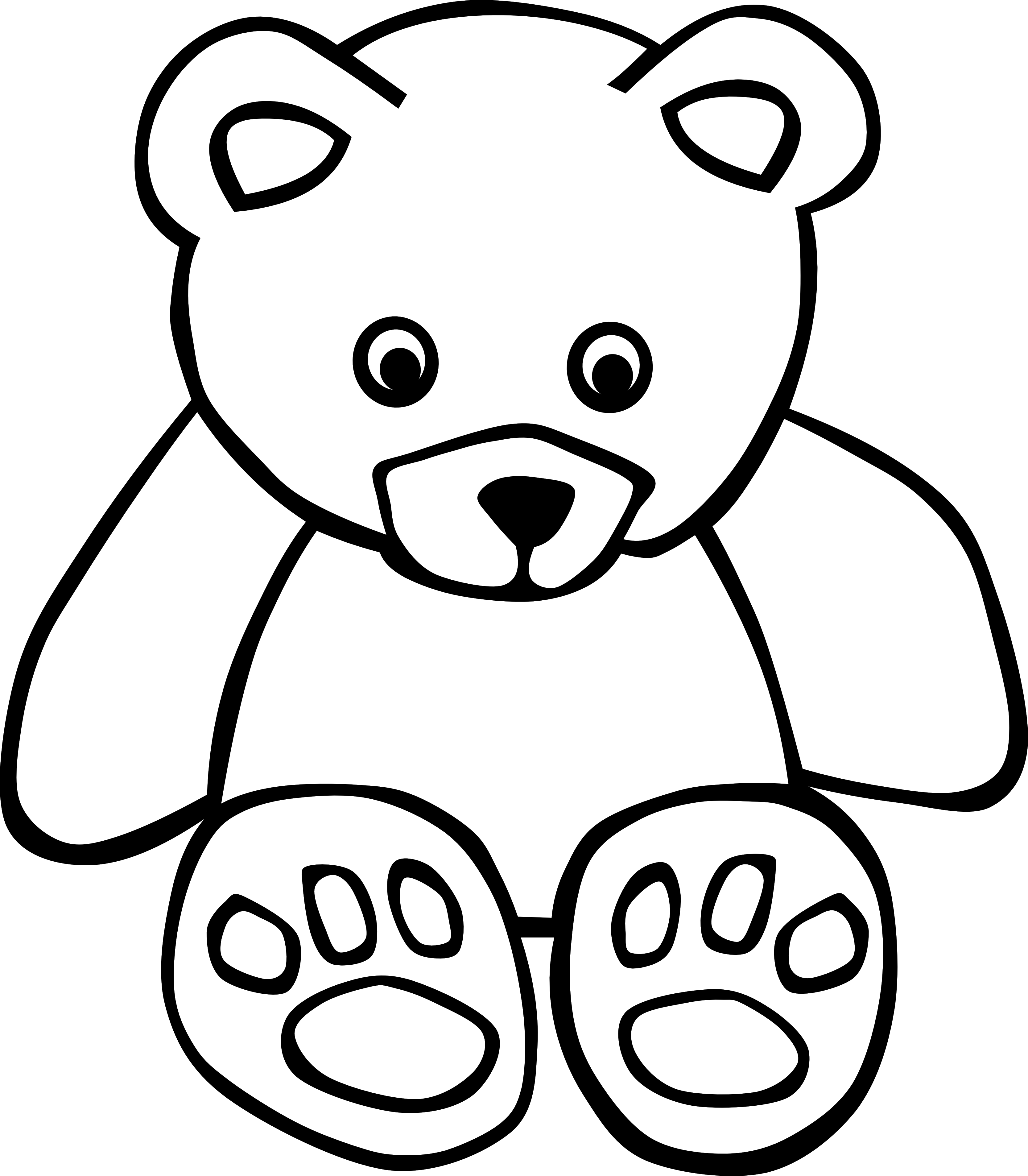 3333x3812 Brown Bear Black And White Clipart