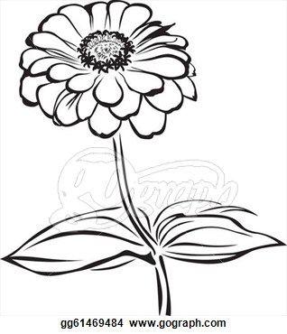 318x370 Zinnea Clipart Black And White