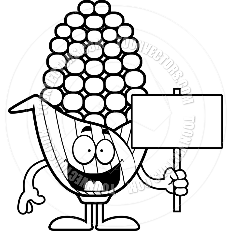 940x940 Cartoon Corn Sign (Black And White Line Art) By Cory Thoman Toon