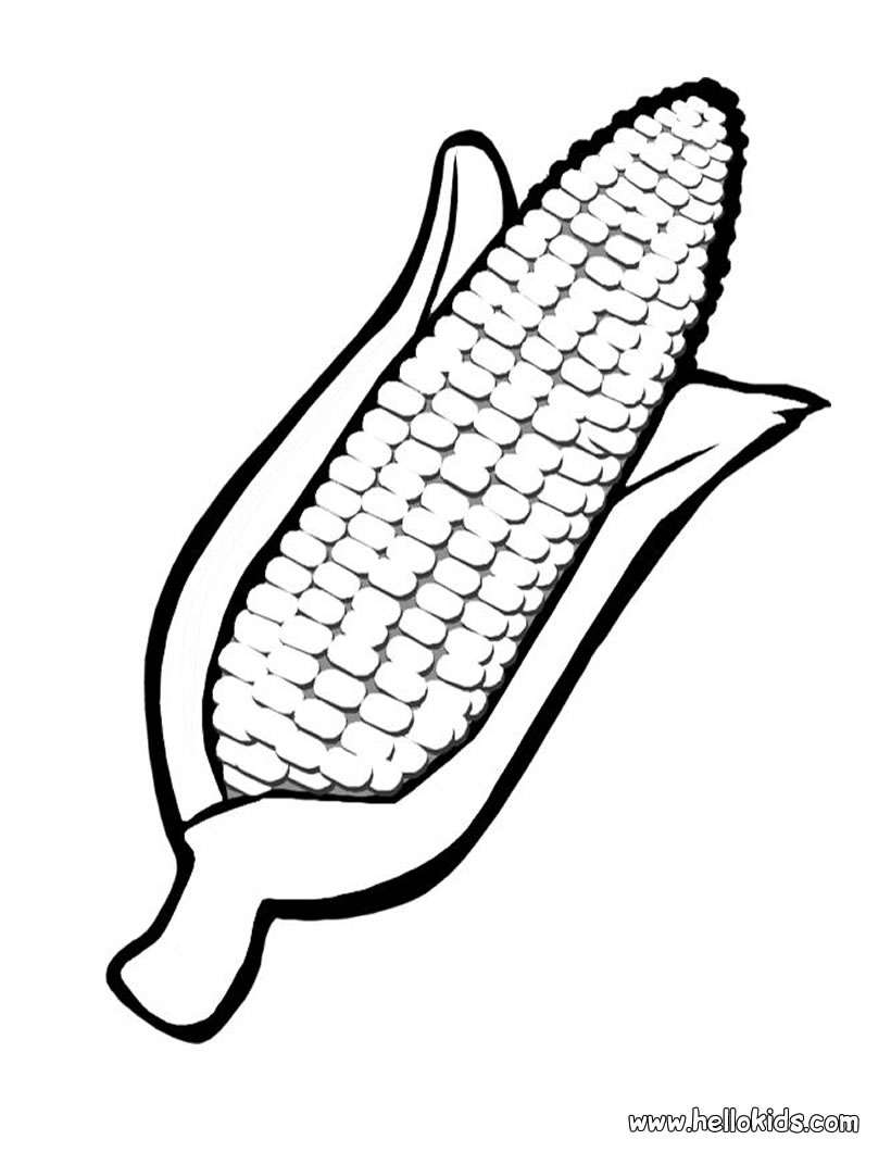 820x1060 Corn Clipart Coloring Page