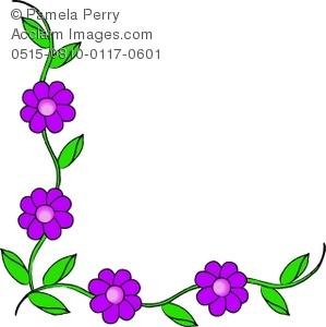 299x300 Art Illustration Of A Corner Border Of Flowers