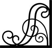 170x156 Clipart Of , Border, Bracket, Corner, Iron, Scroll, Wrought