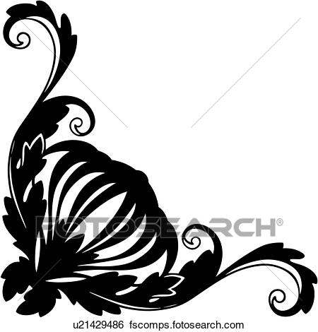 450x470 Clip Art Of , Antique, Border, Corner, Corner Border, Flourish