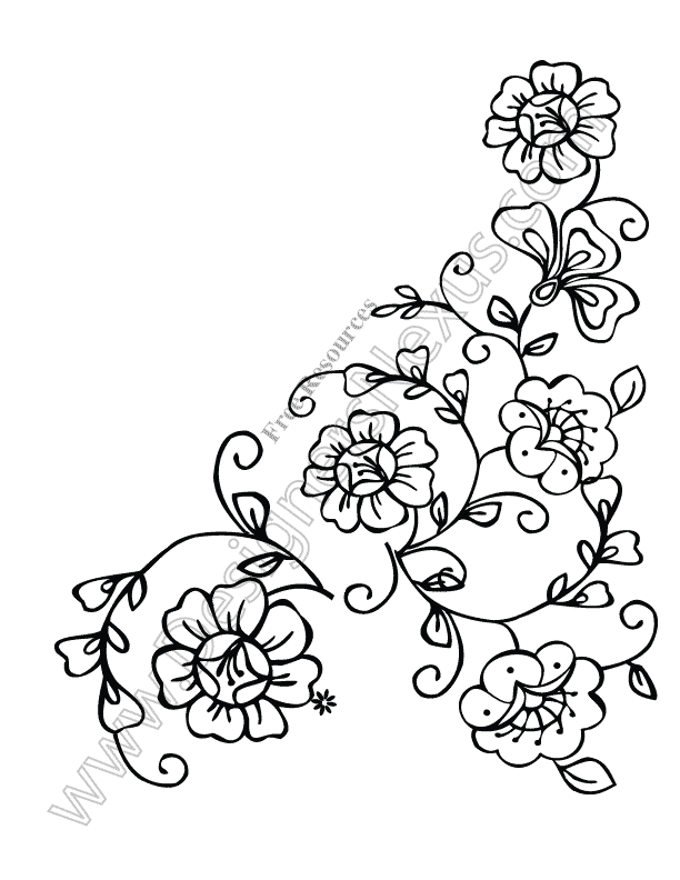 612x792 Flower Corner Clipart
