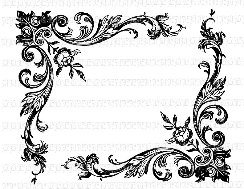 792x612 Arabesque Corner Border Antique Victorian Design Vintage Clip Art