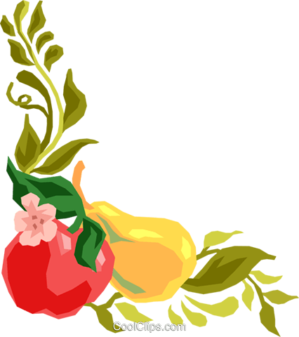 426x480 Fruit And Vine, Corner Border Royalty Free Vector Clip Art