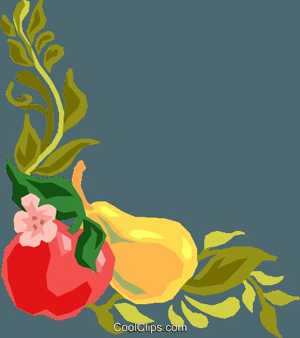 426x480 Fruit And Vine, Corner Border Royalty Free Vector Clip Art