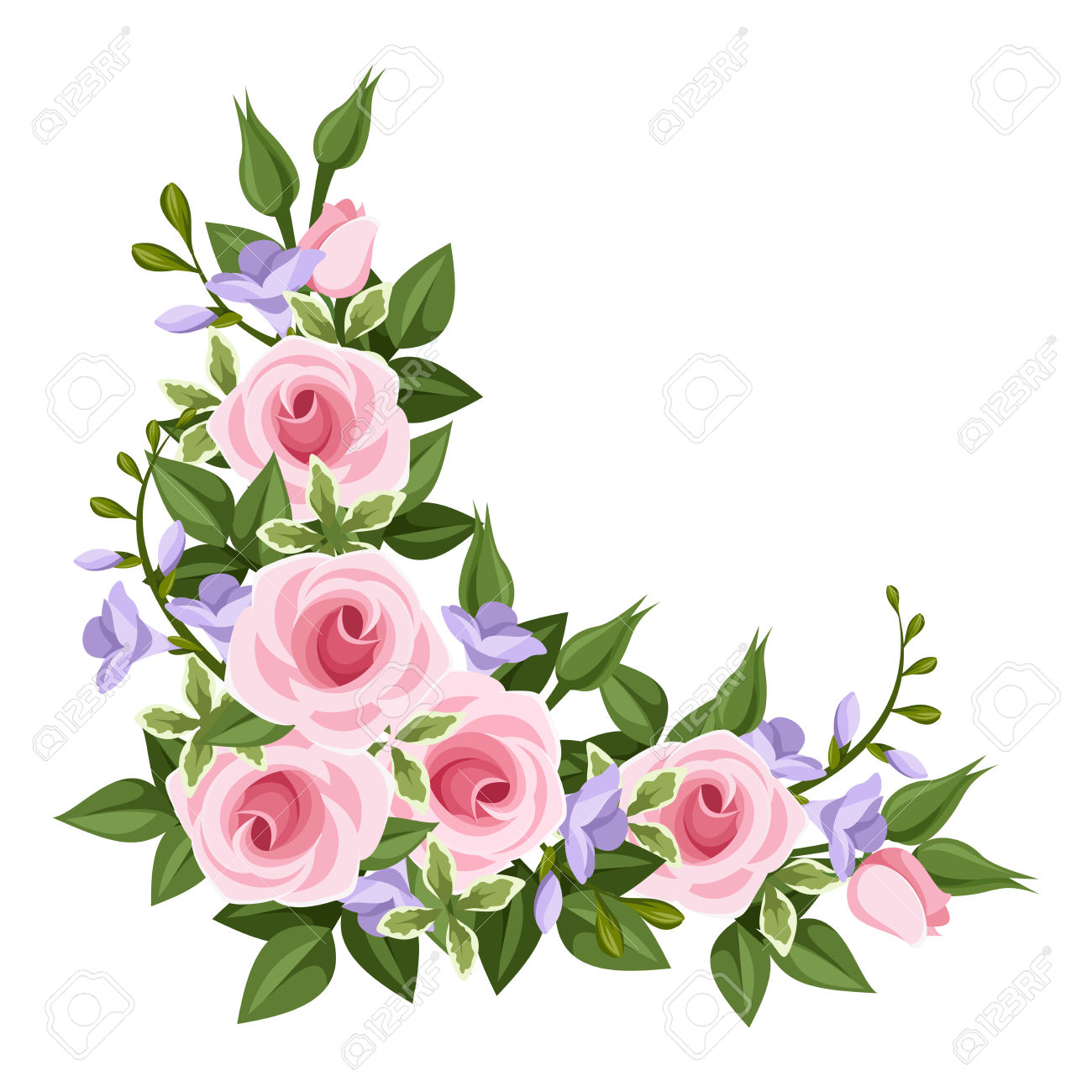 1300x1300 Pink Rose Clipart Floral Corner Borders