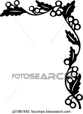 343x470 Clipart Of , Berries, Border, Corner, Floral, Vine, U21967443