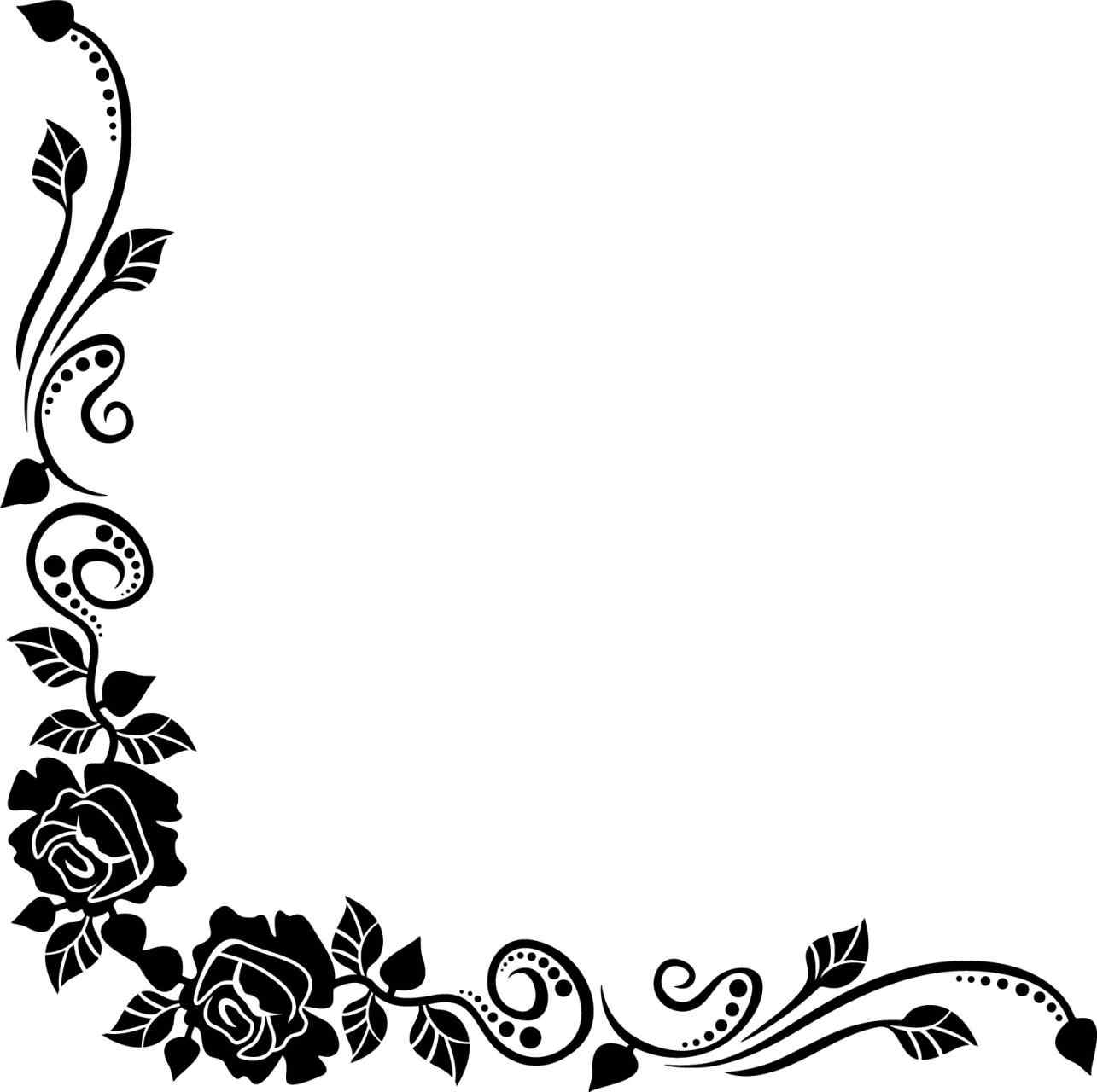 1285x1280 Free Flower Rose Corner Border Black And White Bouquet Clipart