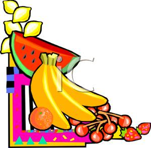 300x295 Fruit On A Neon Corner Background Clip Art Image