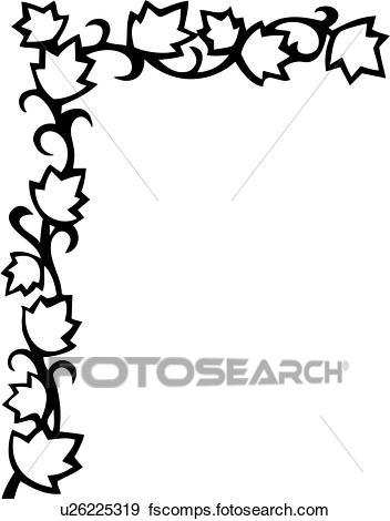 352x470 Clip Art Of , Border, Corner, Floral, Leaves, Vine, U26225319
