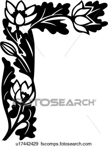 345x470 Clip Art Of , Border, Corner, Floral, Lily, U17442429