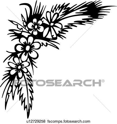 444x470 Clip Art Of , Border, Corner, Flower, U12729258