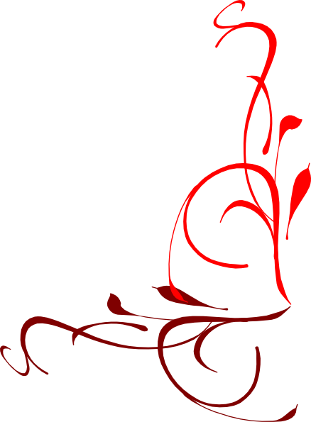 438x595 Corner Flourish Red Clip Art