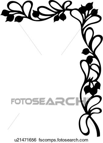 338x470 Clip Art Of , Berries, Border, Corner, Floral, Vine, U21471656