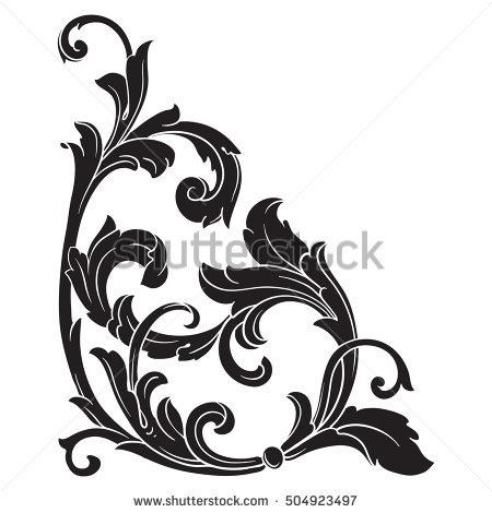 450x470 Engraving Clipart Acanthus Leaf