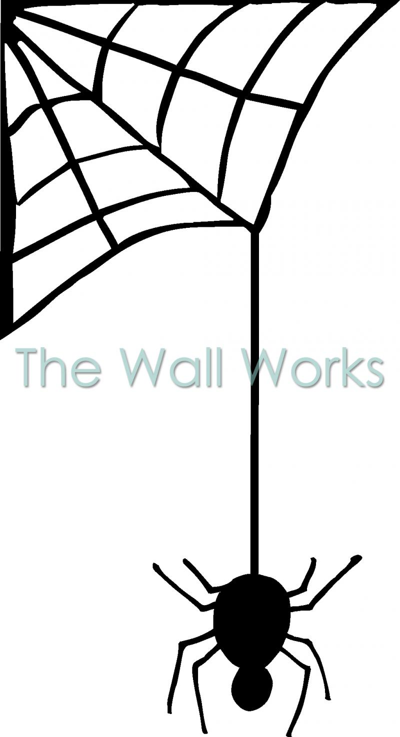 800x1475 Spider Hanging From Web (2) Wall Sticker, Vinyl Decal The Wall Works