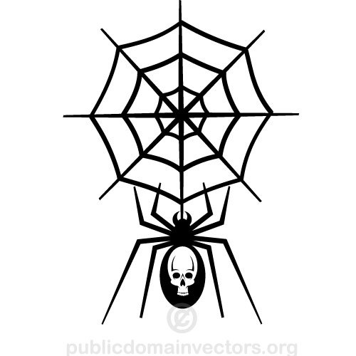 500x500 2849 Spider Hanging From Web Clipart Public Domain Vectors